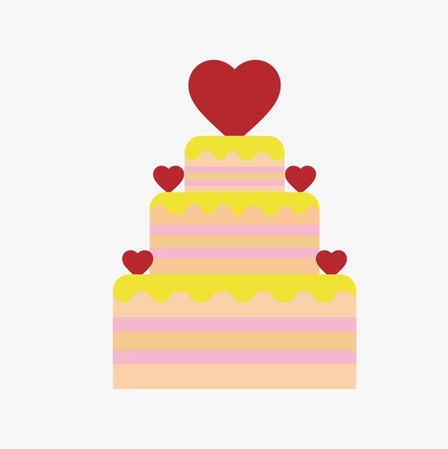 心形层次卡通蛋糕情人节元素
