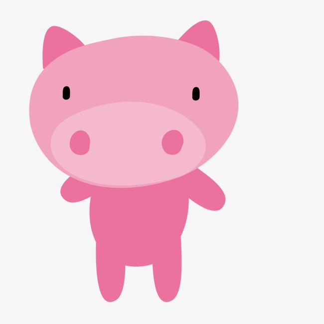 卡通手绘可爱的粉红猪