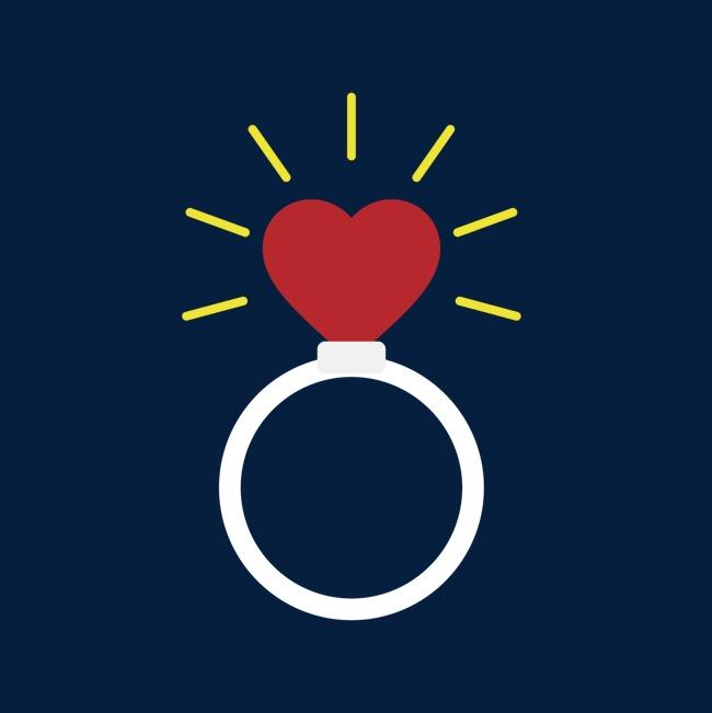 红色心形发光戒指情人节元素
