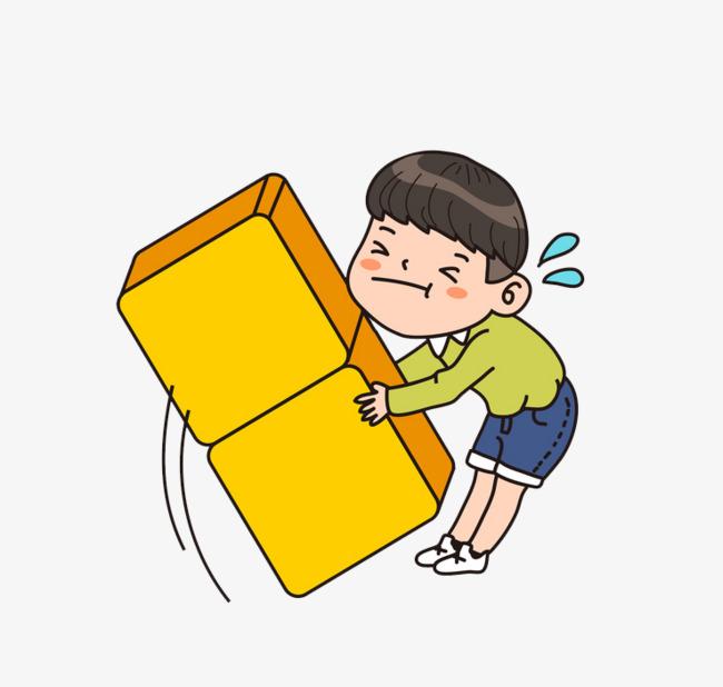 卡通搬箱子男孩免抠图_png素材免费下载_ 738*700像素