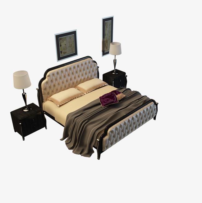 黑白色花纹欧式大床