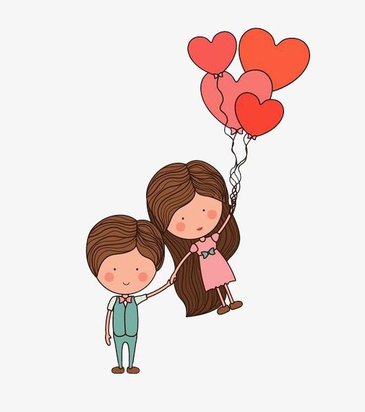 卡通牵手的情侣免抠图素材图片免费下载_高清png_千库图片