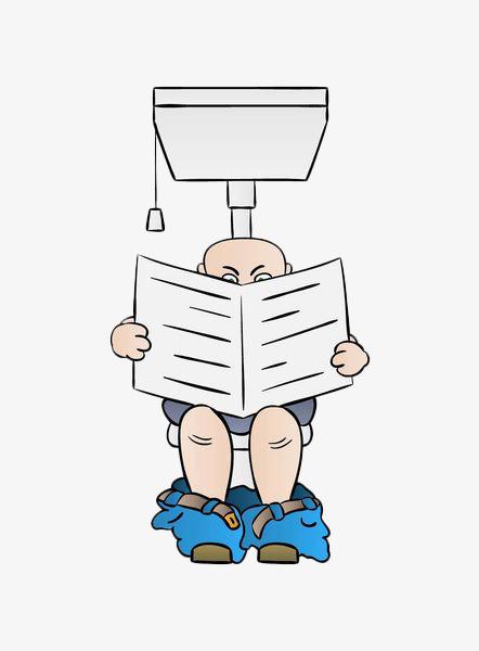 手绘上洗手间读报png素材下载_高清图片png格式(编号