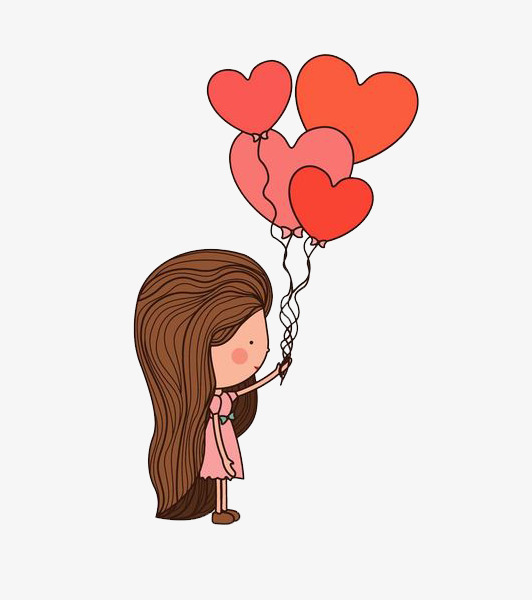 卡通拿着气球的女孩免抠图