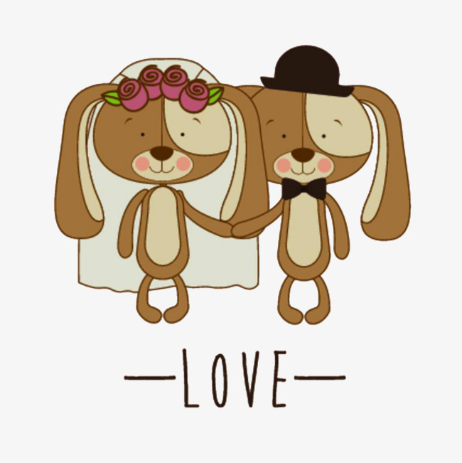 卡通结婚的小狗免抠图_png素材免费下载_ 1000*1000