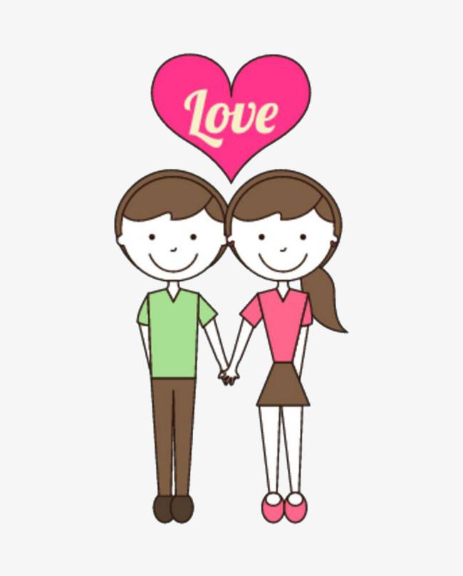 卡通手牵手的情侣免抠图png素材下载_高清图片png格式图片