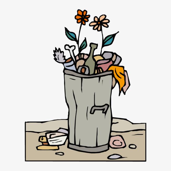 卡通手绘垃圾箱子和垃圾png素材下载_高清图片png格式