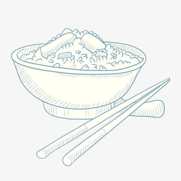 线条手绘白色大米饭图片