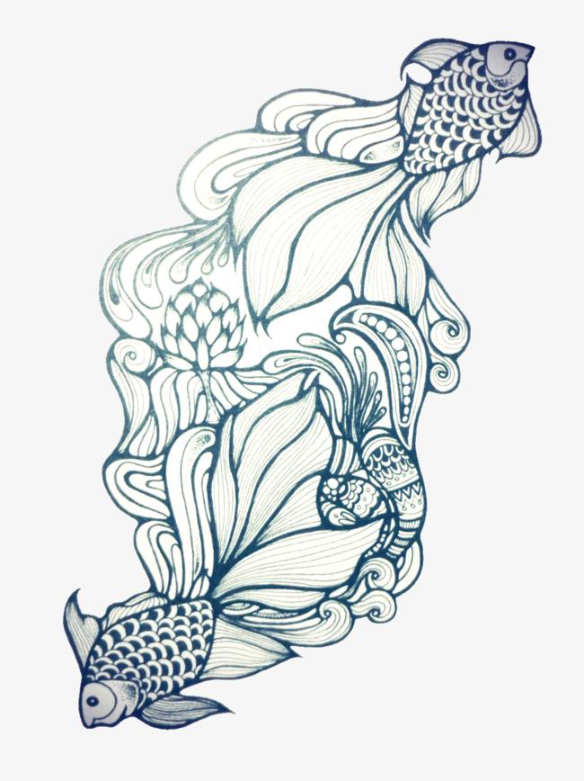 年年有鱼创意手绘图