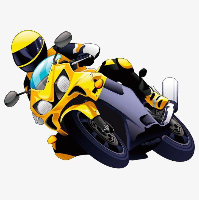 卡通手绘赛车手摩托车