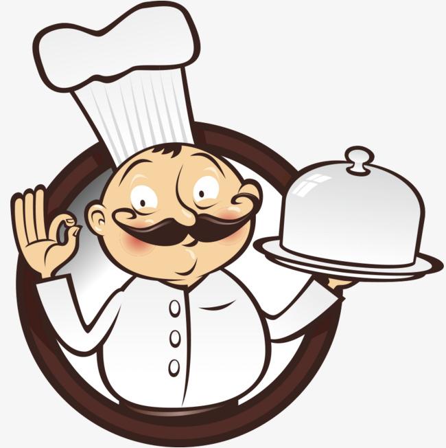 手绘端食物的厨师png