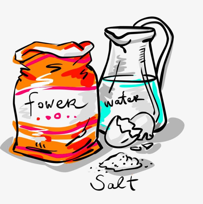卡通涂鸦风面粉水png图片