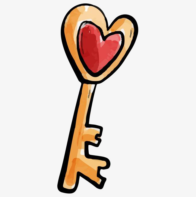 手绘水彩心形钥匙