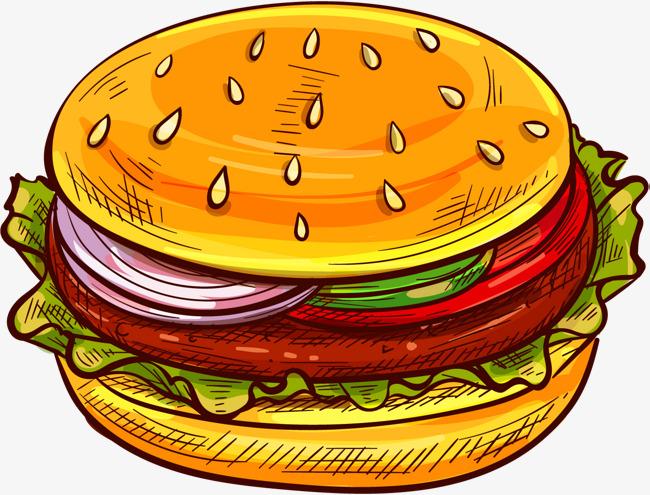 卡通手绘汉堡包免抠图