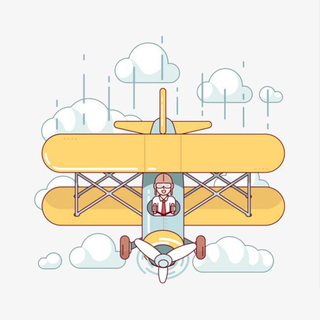卡通开着飞机的女人免抠图_png素材免费下载_ 1024*