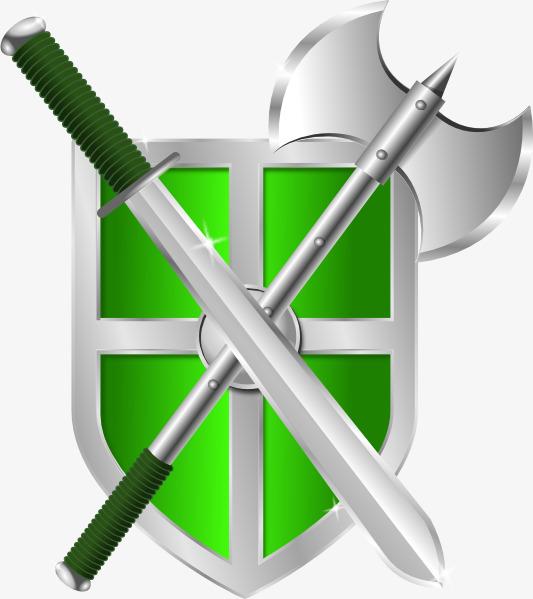 绿色剑斧盾牌素材免抠
