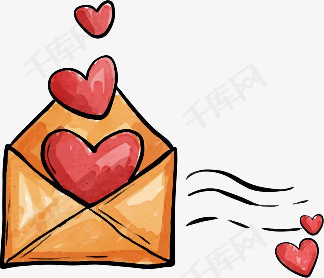 手绘装着爱心的信封图片