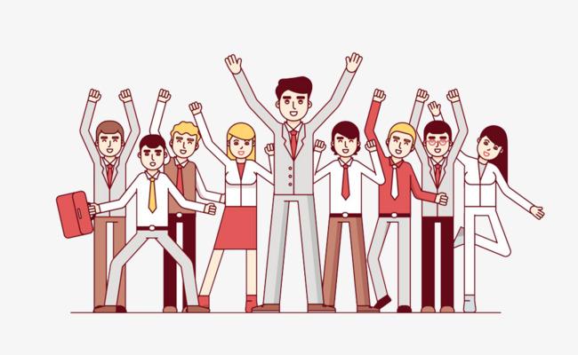 卡通欢呼的人们免抠图png素材下载_高清图片png格式图片