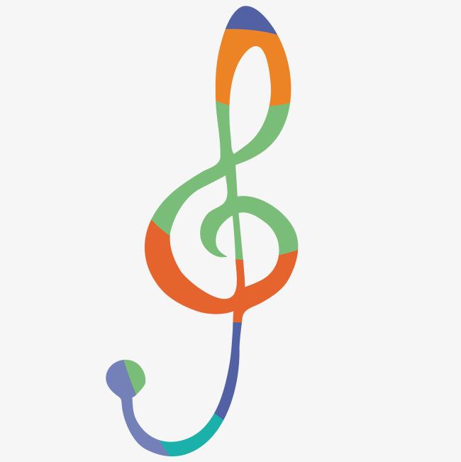 彩色拼接音符手绘图