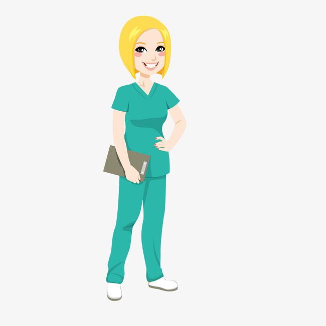 黄发女护士手绘图