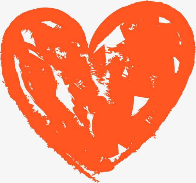 橙色手绘情人节爱心