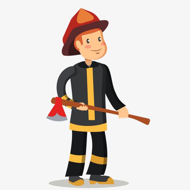 卡通手绘消防员矢量图