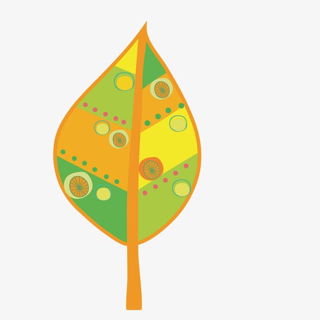 卡通手绘彩色的树叶