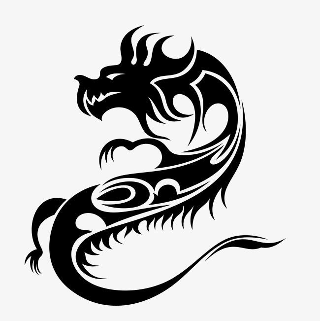 黑色手绘中国龙装饰