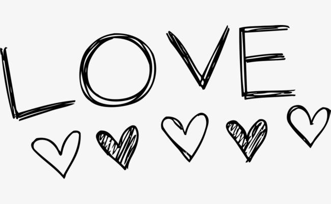 黑色线条love艺术字