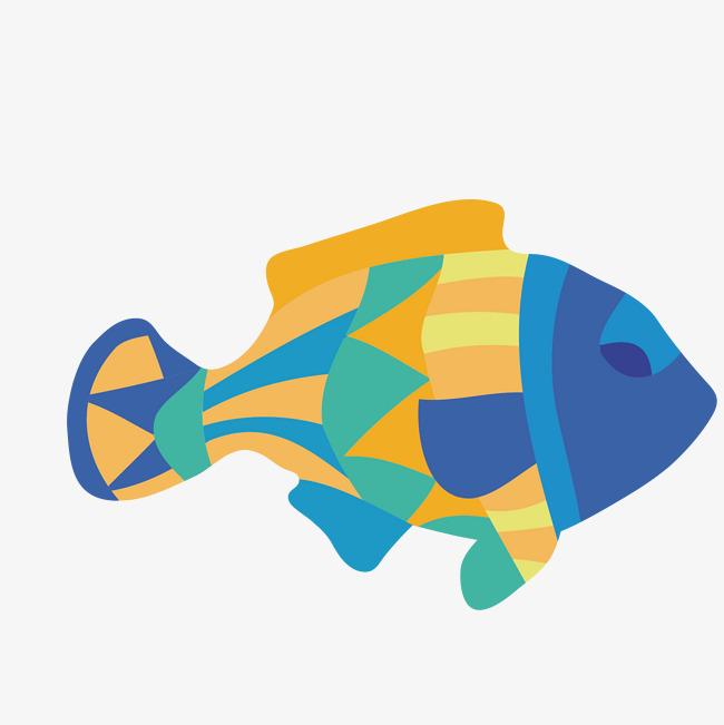 手绘彩色的小鱼装饰