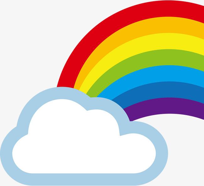 彩虹与云朵矢量图