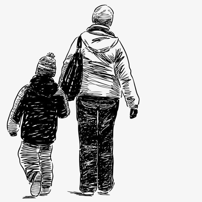 卡通手绘妈妈孩子背影png素材下载_高清图片png格式