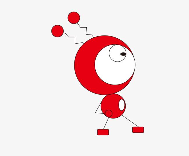 红色机器人简笔画