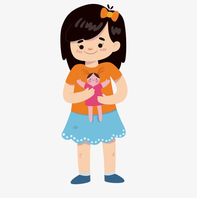 卡通创意玩玩偶的女孩png素材下载_高清图片png格式
