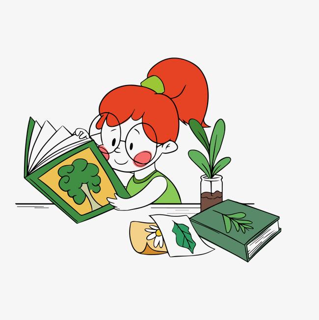 卡通创意手绘看书的女孩