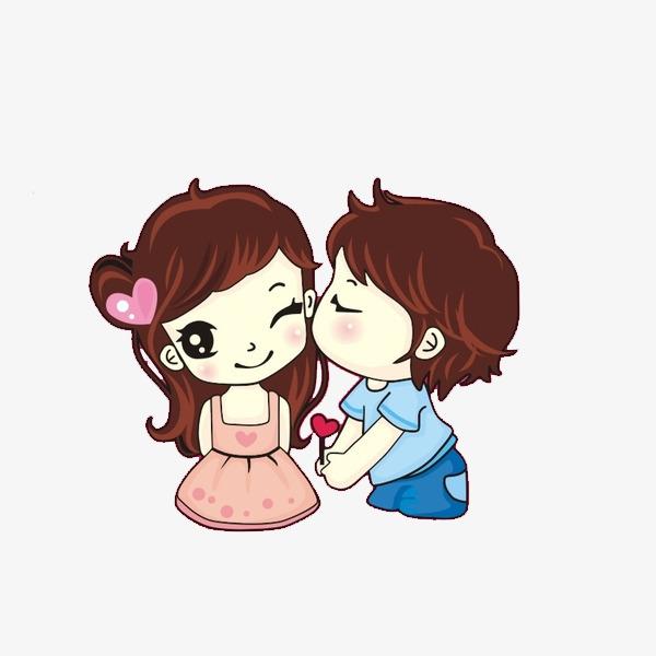 卡通亲吻的情侣免抠图_png素材免费下载_ 600*600像素图片