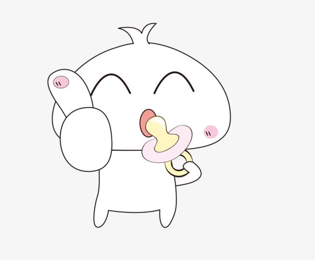 拿着奶嘴的可爱小动物