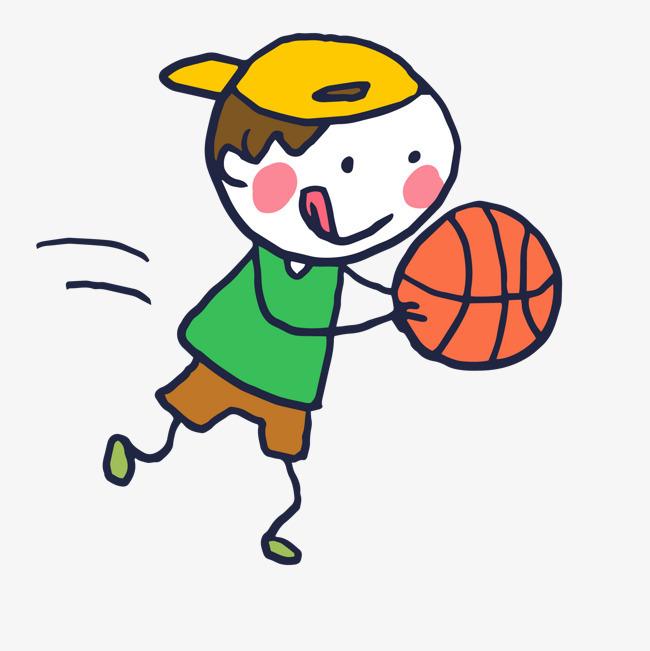 卡通手绘打篮球的男孩