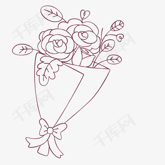 美丽的玫瑰花束简笔画素材图片免费下载 高清png 千库网 图片编号9660287