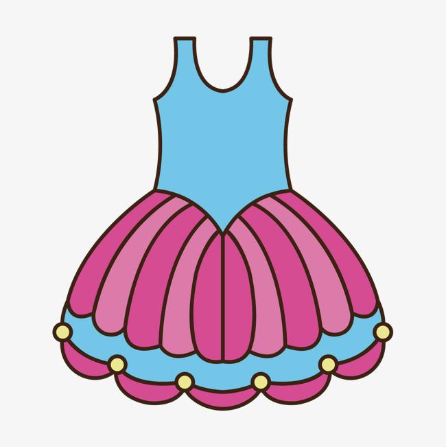 彩色手绘线稿裙子元素