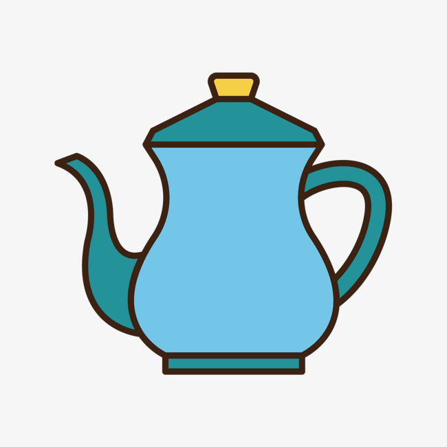 蓝色手绘线稿茶壶元素