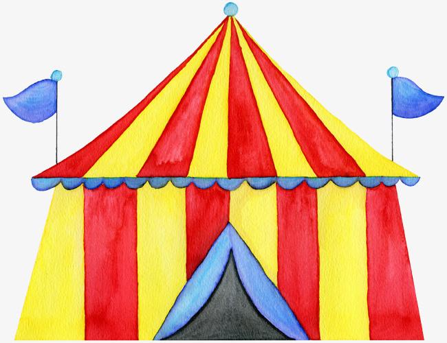 彩色手绘的条纹帐篷