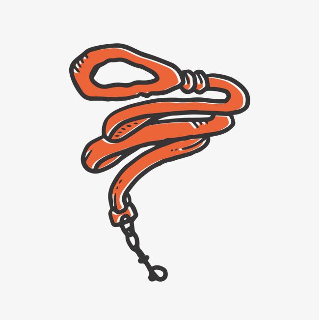 红色手绘弯曲绳子元素