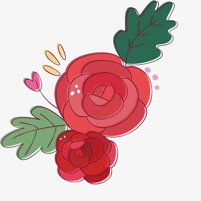漂亮的手绘玫瑰花简图