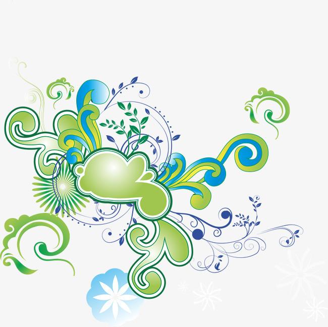 手绘绿色花藤图案
