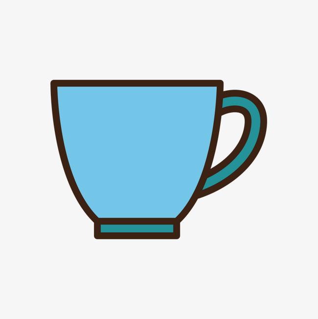 蓝色手绘线稿水杯