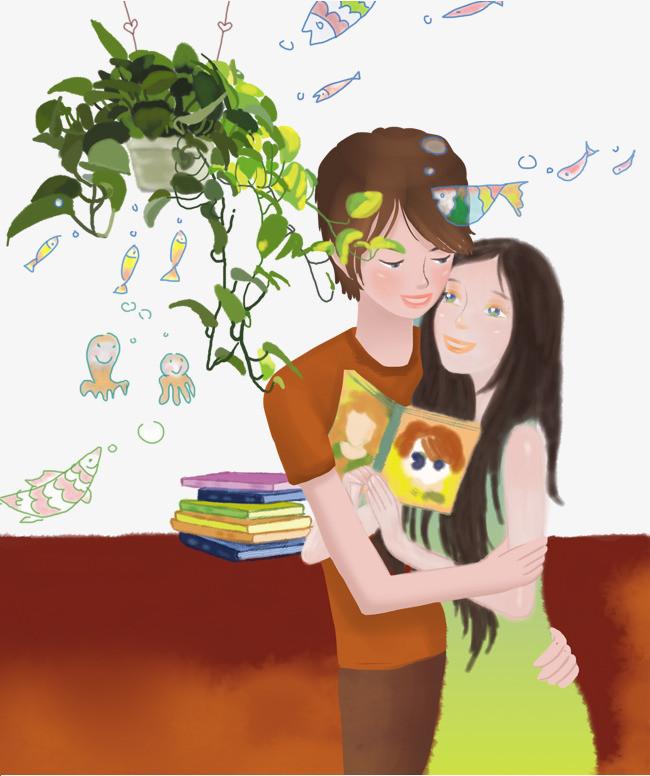 拥抱的小情侣手绘插画素材