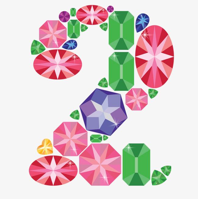手绘彩色钻石创意数字2