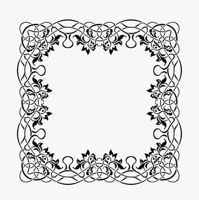 手绘线条绘画花纹边框