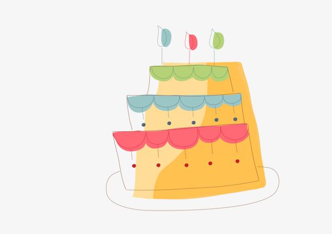 卡通三层蛋糕手绘图_png素材免费下载_ 1562*1099像素